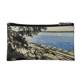 Pacific Beach woodblock style Makeup Bag
