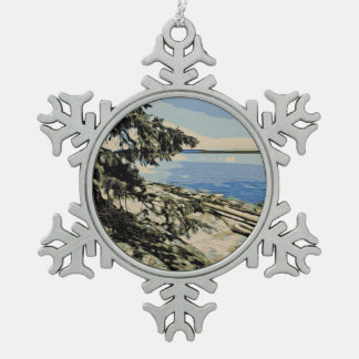 Pacific Beach woodblock style Snowflake Pewter Christmas Ornament