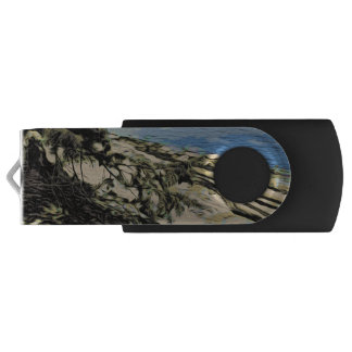 Pacific Beach woodblock style Swivel USB 3.0 Flash Drive