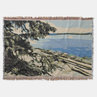 Pacific Beach woodblock style Throw Blanket