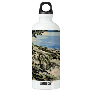 Pacific Beach woodblock style Water Bottle