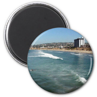 Pacific Beaches Waves Surfers Sand San Diego Ocean 2 Inch Round Magnet