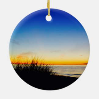 Pacific Coast Beach Round Ceramic Ornament