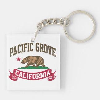 Pacific Grove California Double-Sided Square Acrylic Keychain