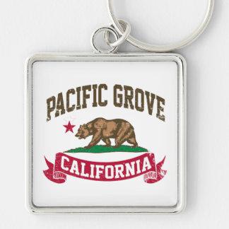 Pacific Grove California Silver-Colored Square Keychain