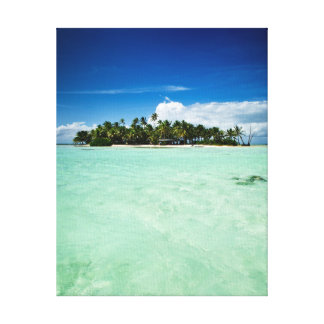 Pacific island with palm trees canvas
