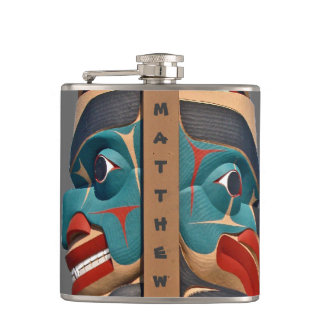 Pacific Northwest Totem Design Flask