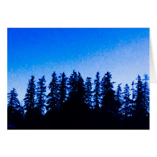Pacific Northwest Trees in Blue Blank Note Card