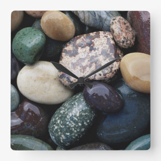 Pacific Northwest USA, Colorful river rocks Square Wall Clock