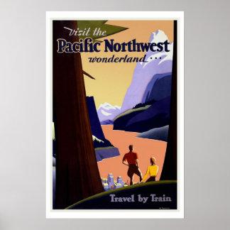 Pacific Northwest Wonderland US Vintage Travel Poster