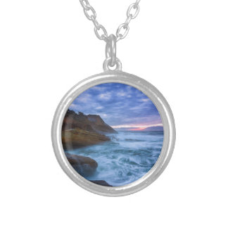 Pacific Ocean at Cape Kiwanda in Oregon USA Silver Plated Necklace
