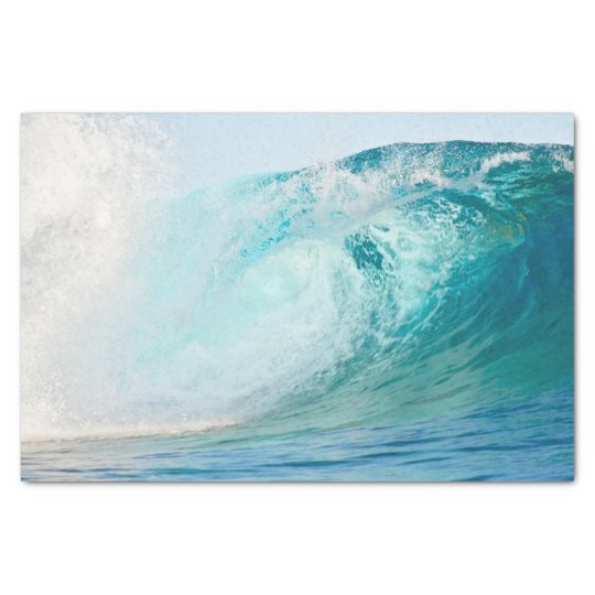 Pacific ocean blue wave breaking tissue paper