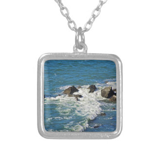 Pacific Ocean in Motion Silver Plated Necklace