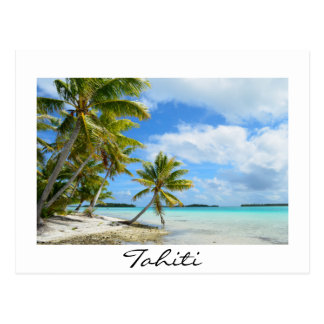 Pacific palm beach on Tahiti postcard
