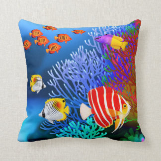 Pacific Saltwater Coral Reef Aquarium American MoJ Throw Pillow