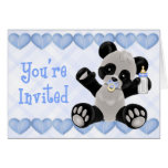 Pacified Panda Blue Baby Shower Invitation Greeting Cards