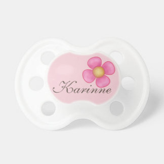 PACIFIER WITH PINK FLOWER, WITH BABY GIRL NAME