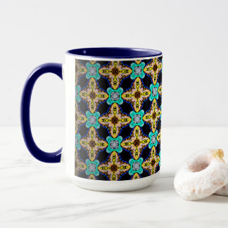 Pack MUG Jimette Design turquoise and yellow