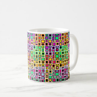 Pack square multicoloured merry fun abstract coffee mug