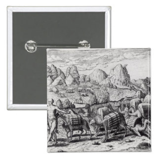 Pack Train of Llamas Laden with Silver 2 Inch Square Button