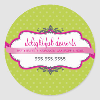 PACKAGING SEAL cute logo stylish pink lime green Round Sticker
