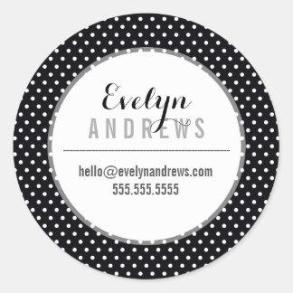 PACKAGING SIMPLE SPOT mini polka dot black white Round Sticker