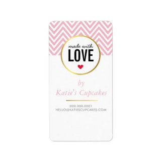 PACKAGING TAG LABEL made with love pink chevron