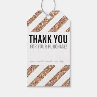 PACKAGING THANK YOU rose gold glitter stripe black Pack Of Gift Tags