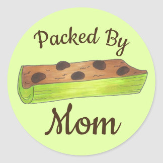 Packed by Mom School Lunch Ants on a Log Celery Classic Round Sticker