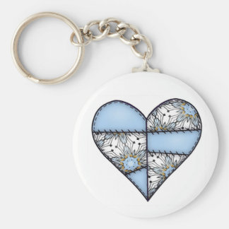 Padded Heart  Blue Basic Round Button Keychain