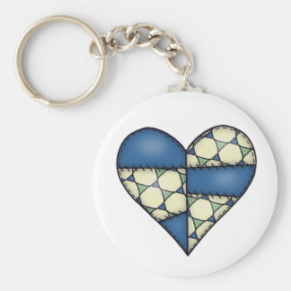 Padded Heart  Blue Basic Round Button Keychain