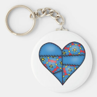 Padded Heart  Blue Keychains