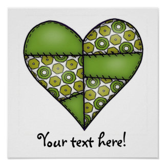 Padded Quilted Stitched Heart Green-09 Poster