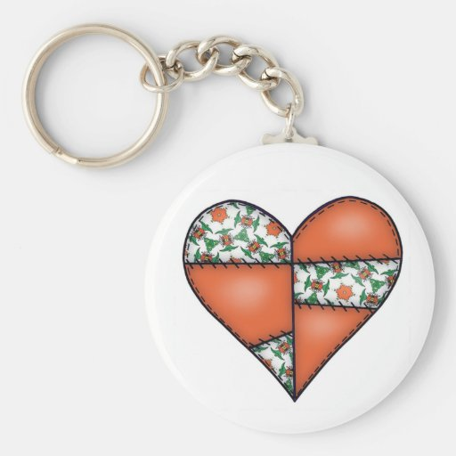 Padded Quilted Stitched Heart Orange-02 Keychains