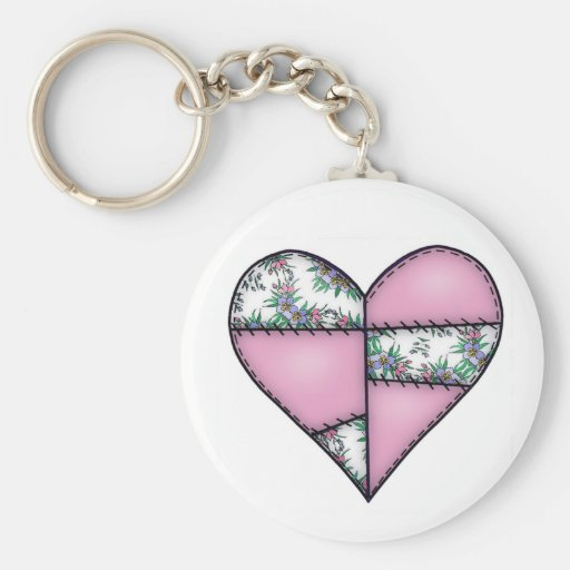 Padded Quilted Stitched Heart Pink-01 Keychains