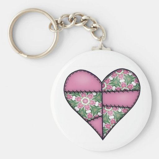 Padded Quilted Stitched Heart Pink-02 Key Chains