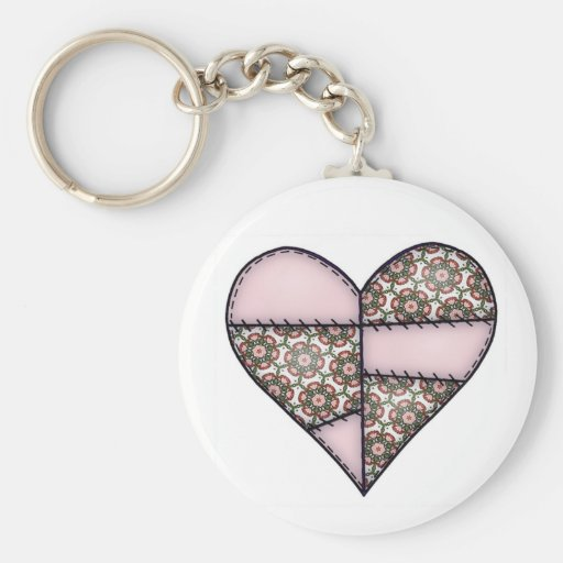 Padded Quilted Stitched Heart Pink-05 Key Chains