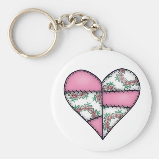 Padded Quilted Stitched Heart Pink-07 Key Chain