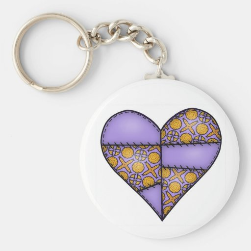 Padded Quilted Stitched Heart Purple-02 Keychain