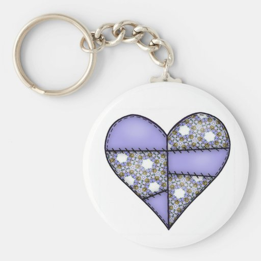 Padded Quilted Stitched Heart Purple-05 Keychain