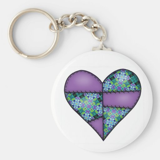 Padded Quilted Stitched Heart Purple-08 Keychain