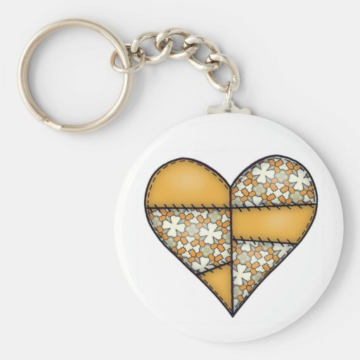 Padded Quilted Stitched Heart Yellow-06 Key Chain