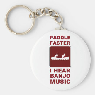 Paddle faster I here banjo music Basic Round Button Keychain