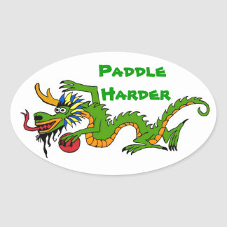 Paddle Harder Dragon Boat Oval Sticker