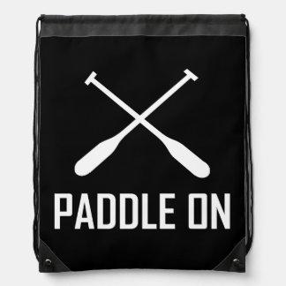 Paddle On Lake Life Drawstring Bag