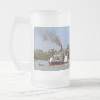 Paddle_Steamer_Murray_River_Big_Frosted_Beer_Mug Frosted Glass Beer Mug