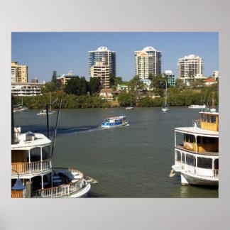 Paddle Steamers, Brisbane River, Brisbane, Poster