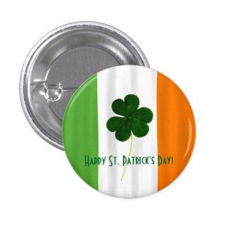 Paddy irlandais de shamrock de drapeau du jour de macaron rond 2,50 cm