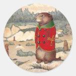 Paddy Paws in Prairie Dog Town Round Sticker