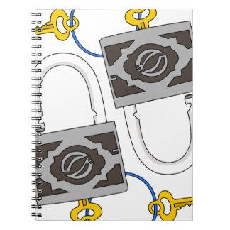 padlock spiral notebooks